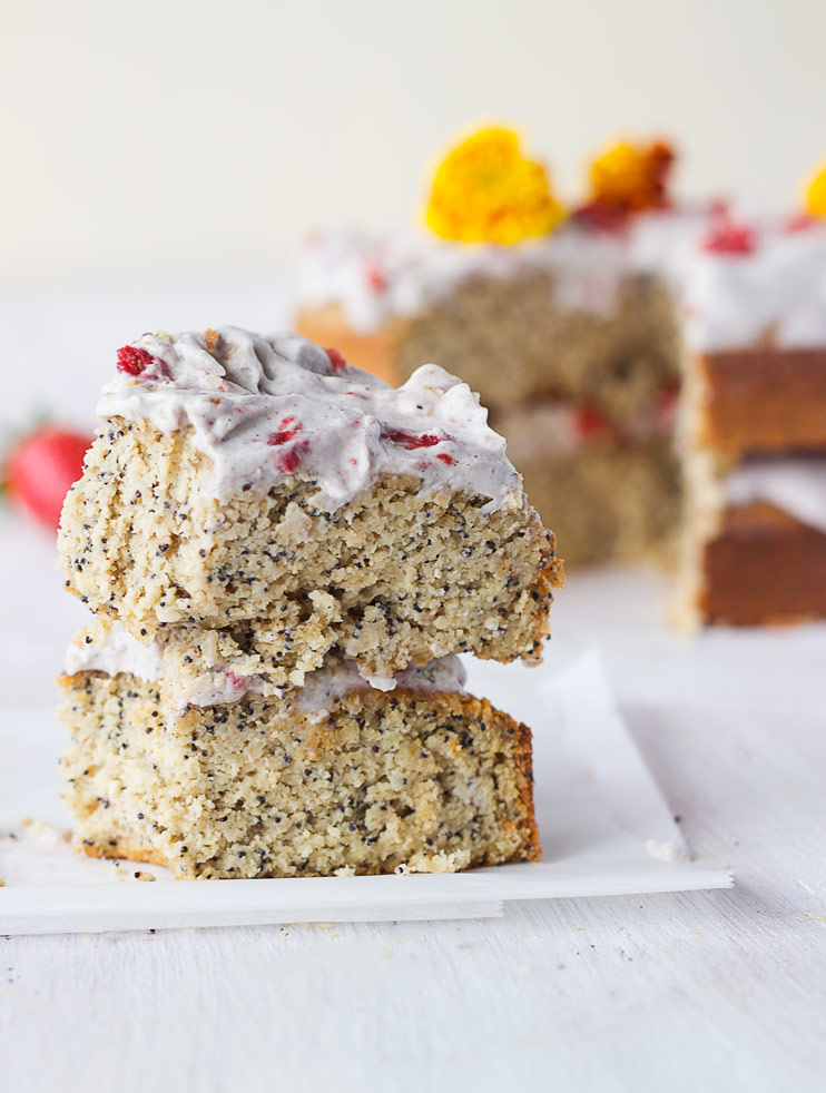 Strawberry, Coconut, and Lemon Poppy Seed Cake