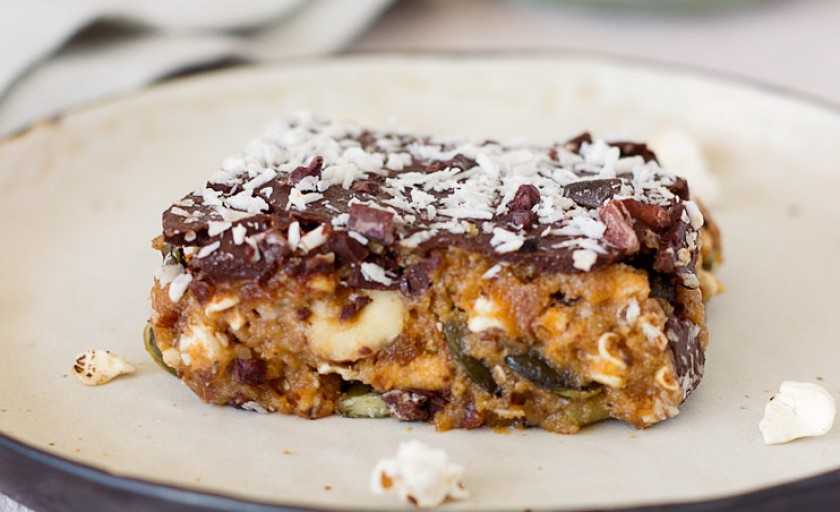 Puffed Grains, Sweet Potato, and Chocolate Squares