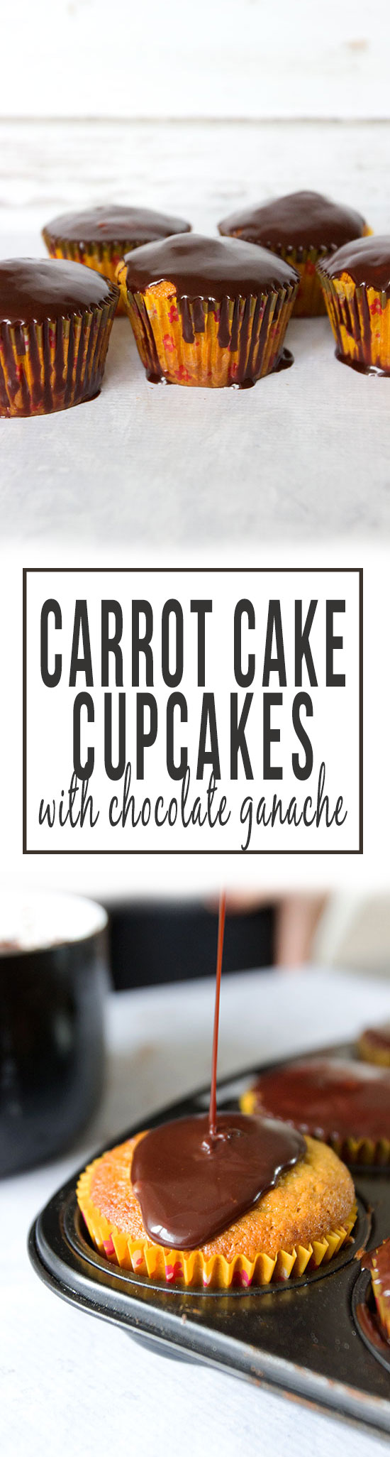 Blender Carrot Cake Cupcakes with Chocolate Ganache via www.sprinkleofgreen.com | These gluten free carrot cake cupcakes are moist and delicious with a luscious chocolate ganache glaze!
