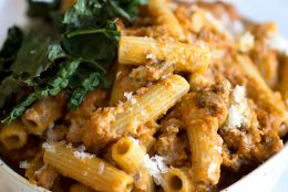 Fall Pumpkin Bolognese Macaroni with Crispy Kale