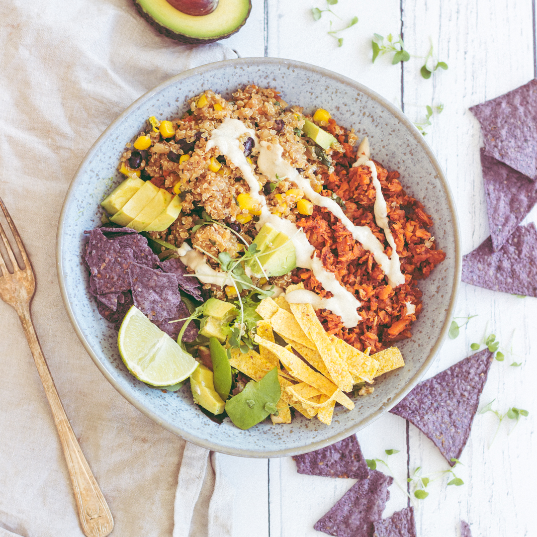 Quinoa Taco Salad Bowl With Vegan Chorizo Sprinkle Of Green