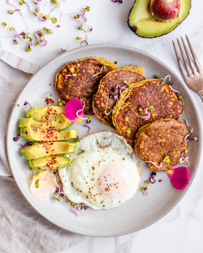 Carrot & Chive Savory Breakfast Paleo Pancakes